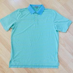 Peter Millar Striped Jersey Gold Shirt XL